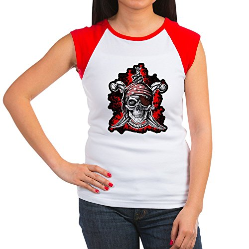 (Royal Lion Women's Cap Sleeve T-Shirt Pirate Skull Swords Eyepatch - Red/White, L (12-14))
