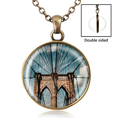 (Artwork Store Womens Pendant Necklaces Brooklyn Bridge Handmade Necklace Fashion Double-Sided Glass Ball Charm Chain Pendant)