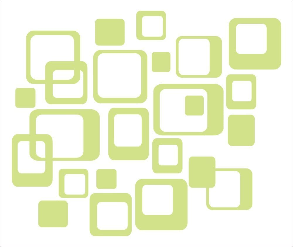 Funky Wall R/Squares Vinyl Sticker Decals 20 Pieces 6inch & Smaller - Celadon