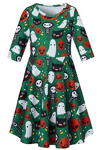 Cute Ghost Costumes (uideazone Kids Girls Printed Cute Skull Pumpkin Ghosts Sundress Cute 3/4 Sleeve Playwear Dress for Halloween Party)