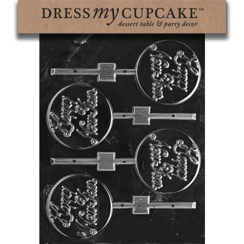 Happy New Year Candy - Dress My Cupcake DMCC111 Chocolate Candy Mold, Happy New Year Lollipop