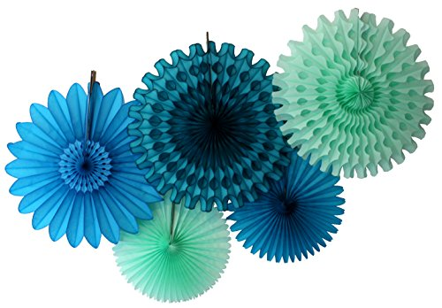 (Devra Party 5-Piece Tissue Paper Fans, Sea Breeze Blue Green)