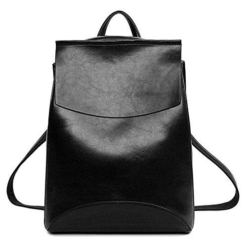 (JVP1012-B) Estilo japonés estilo de la escuela mochila de moda impermeable negro PU cuero 3way mochila bandolera popular ligero suburbano recuperación de la escuela informal Negro