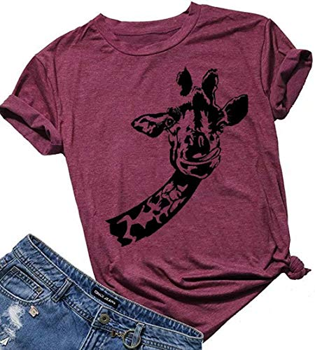 BANGELY Giraffe Graphic Cute Shirt for Women Animal Africa Wild Life Tees Summer Short Sleeve Casual Tops Tshirt Size Small (Red)