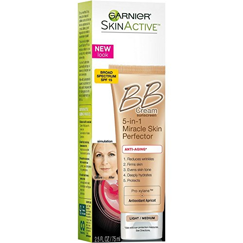 Garnier SkinActive Miracle Skin Perfector BB Cream Anti-Aging Light/Medium 2.5 oz (Pack of 4)