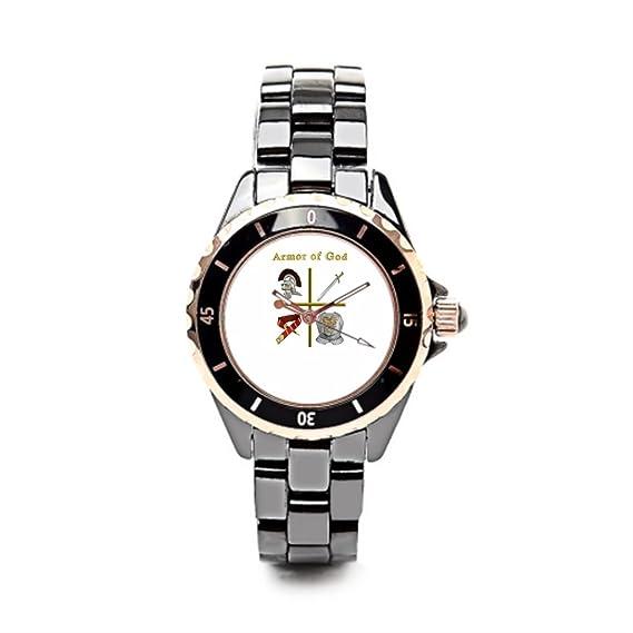 eleganceelegant Vintage relojes reloj de cerámica religiosa mujer negro/oro las mujeres: Amazon.es: Relojes
