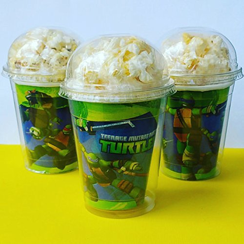 Set of 8 - Teenage Mutant Ninja Turtle Party Cups, Popcorn Cups, Goody Bags, Favor Boxes