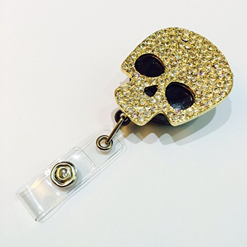 Bling Rhinestone skull Decorated Retractable Badge Reel ID Holder with Clip Backing