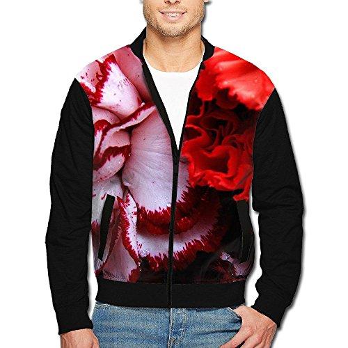 SCOOLY Carnation Nature Flower Bouquet Men Long Sleeve Full Zip Jacket XX-Large