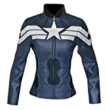 Arrivals Women's Captain Fashion America Leather Jacket Blue (S (10), Real Blue)
