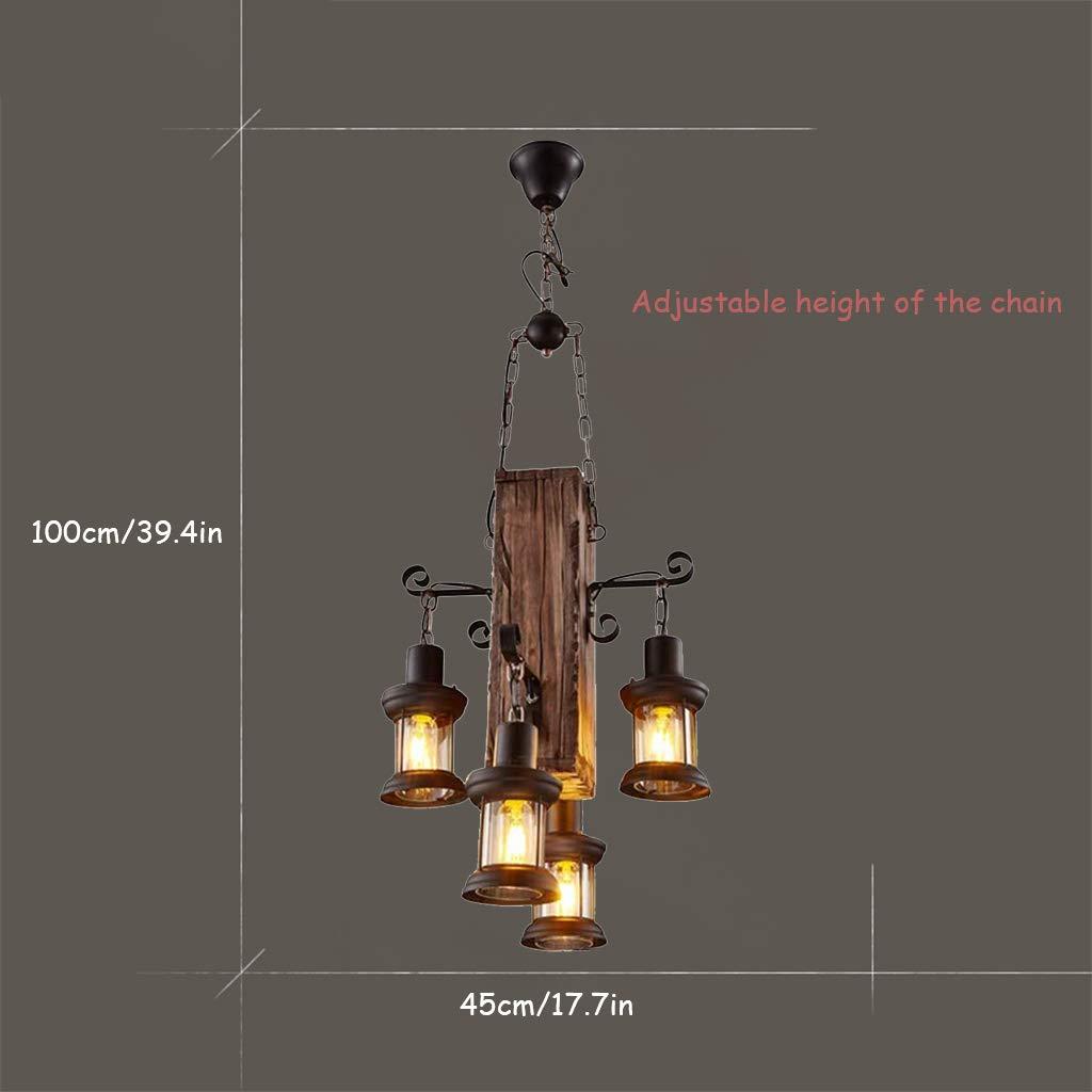 L/ámpara en suspensi/ón industrial vintage L/ámpara colgante r/ústica de madera Metal y vidrio/Creative E27 portal/ámparas L/ámparas de ara/ña regulable en altura 4 llamas negro L/ámpara de techo para ba