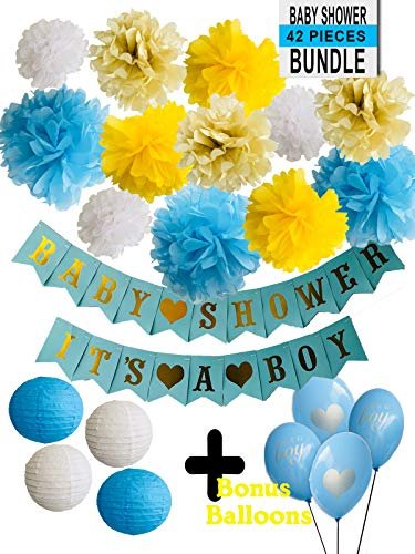 Boy Baby Shower Decoration - Bundle Blue White Yellow Gold Newborn It's a Boy Banner Welcome Baby Pompom Lanterns Blue Balloons Mom To Be -