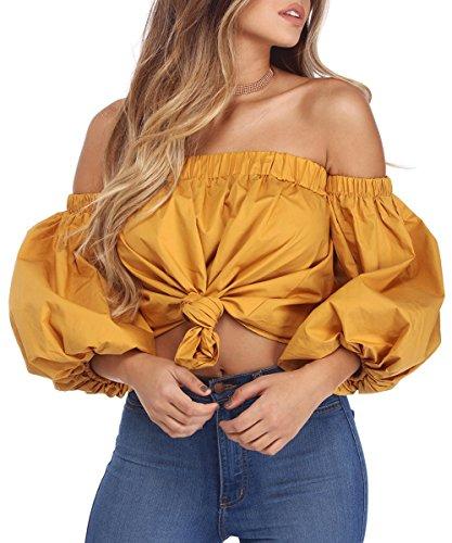 Yellow Ruffle Shirt Top - 2