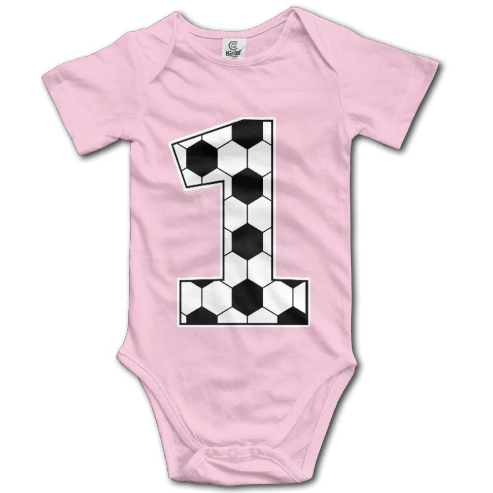 LONGTOU 1st Birthday Gift for Soccer Fan Infant Baby Short Sleeve Bodysuit Romper