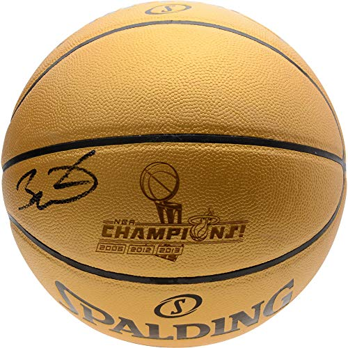 Dwyane Wade Miami Heat Autographed Gold 3x NBA Champions Spalding Gold Laser Engraved Basketball - Fanatics Authentic Certified