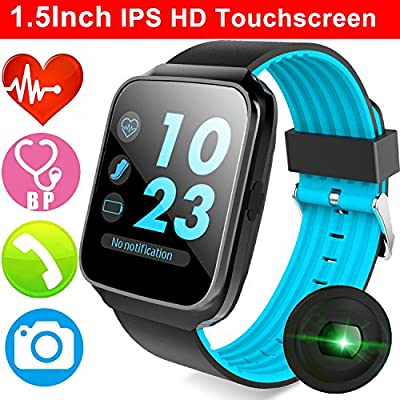 "1.54"" Color Touchscreen Fitness Watch with Blood Pressure Heart Rate Sleep Monitor for Men Women Kid Smartwatch Pedometer Sport Watch Calorie Bluetooth Phone Camera Music Activity Tracker Prime Deal"