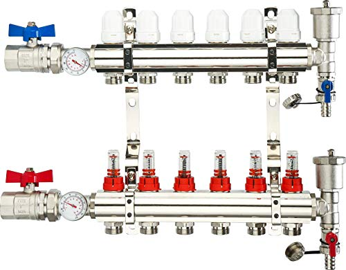 6 Loop Manifold: PEX Tubing Radiant Heat Manifolds with Compatible Outlets, for Hydronic Radiant Floor Heating (1/2