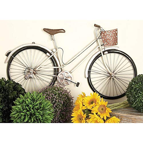 Metal 3D Bicycle Wall Decor Vintage Bike Decoration Antique Retro Wheels Basket Old Fashioned Farmhouse Themed, White Iron 20x35 (Metal Wall Bicycle Basket)