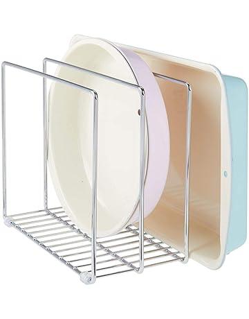mDesign Soporte para bandejas de horno en metal – Compacto organizador de tapaderas para los armarios