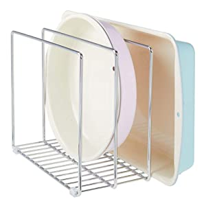 mDesign Metal Wire Cookware Organizer Rack for Kitchen Cabinet, Pantry and Shelves - Organizer Holder with 3 Slots for Cookie Trays, Muffin Tins, Bread Pans, Cutting Boards, Baking Stones - Chrome