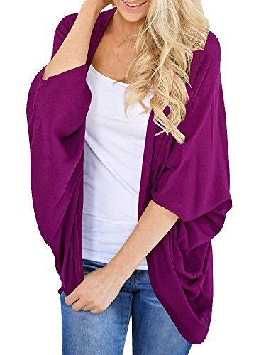 Imily Bela Womens Summer Chiffon Open Front Batwing Kimono Tops Drape Cardigan Cape Grape Purple