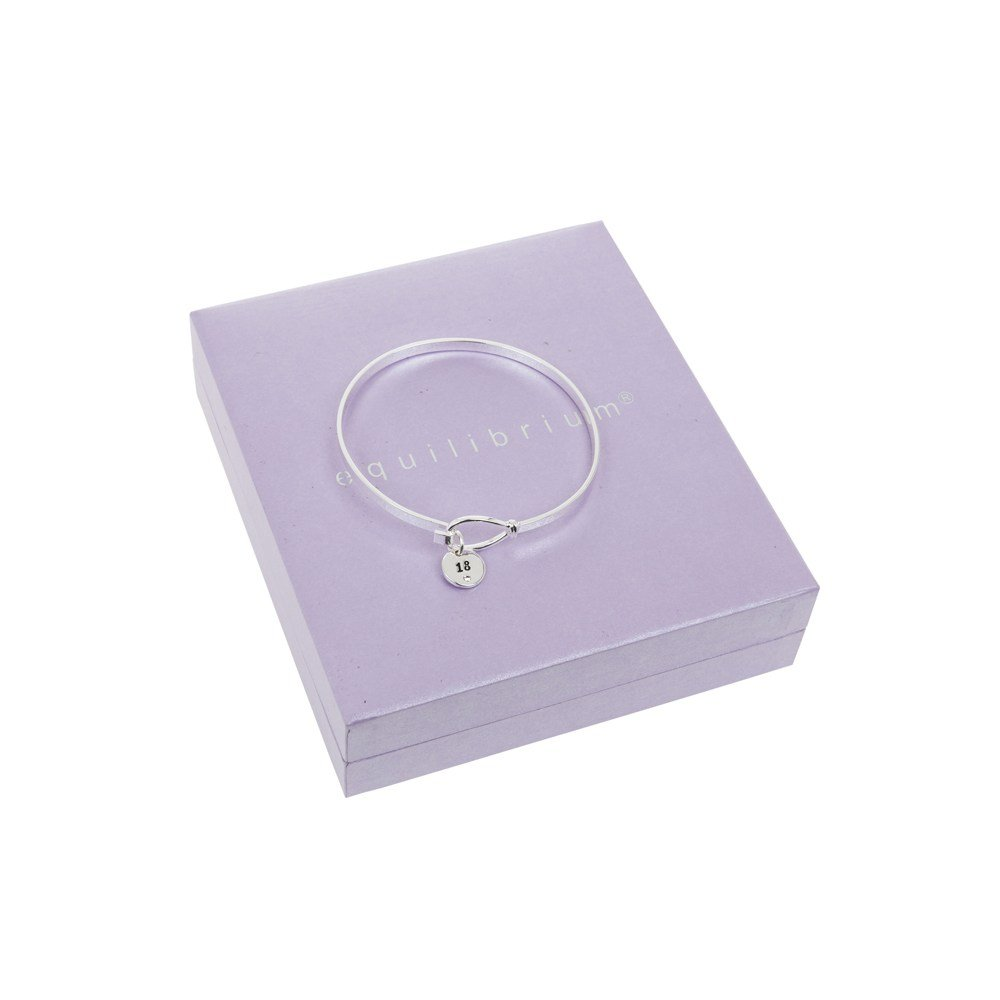 Equilibrium Silver Plated Message Disk Loop Bangle 18 iPG4VjCq4