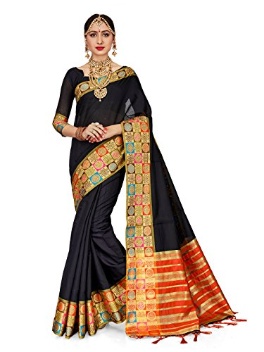 ELINA FASHION Sarees for Women Cotton Silk Woven Saree Indian Wedding Wear Sari with Unstitched Blouse (Black) (Black Designer Saree)