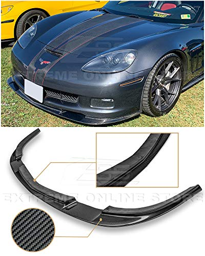 Extreme Online Store EOS ZR1 Style Carbon Fiber Front Bumper Lower Lip Splitter for 2005-2013 Chevrolet Corvette C6 Wide Body - Fiber 09 Carbon