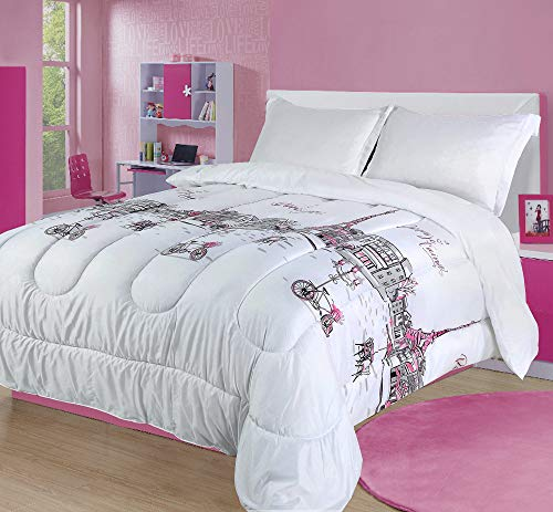 Twin Paris Comforter Bedding Set France Pink White Grey Eiffel Tower (Comforter Themed France Set)