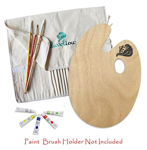 Daveliou Paint Brushes & Palette Set - 12 Brushes - 12 Acrylic Non-Toxic Paints - Wooden Palette