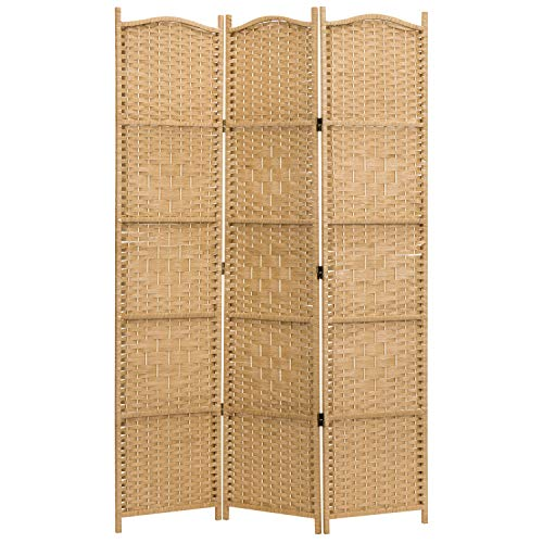 MyGift 3-Panel Handwoven Bamboo Privacy Screen Room Divider with Wood Frame & Dual-Sided Hinges, Beige (Furniture Bamboo Patio Vintage)