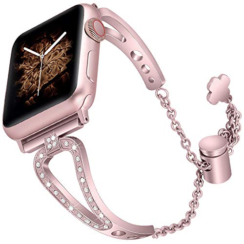 (OriBear Bling Bands Compatible with Apple Watch Strap 38mm 40mm, Women Diamond Rhinestone Stainless Steel Metal Jewelry Bracelet Bangle iWatch Bands Wristband,Rose Gold)