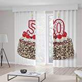 TecBillion Bedroom Curtains,50th Birthday Decorations,Living Room Bedroom Curtain,Cream Cake with Cherries Burning Candles Chocolaty Yummy Desert,196Wx83L Inches