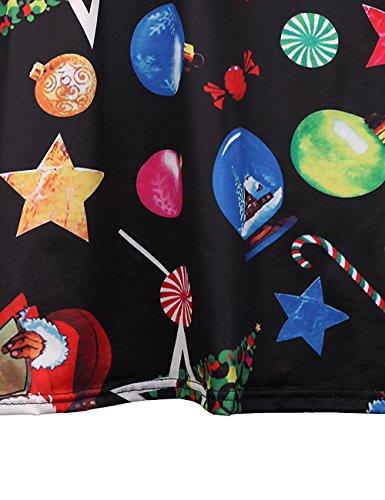 Vestido Navidad Nieve Impresión Calabaza Line Minetom Camiseta A Mujer D para Dress Swing de Largas Tipo Mangas Niñas Ropa IqROEw