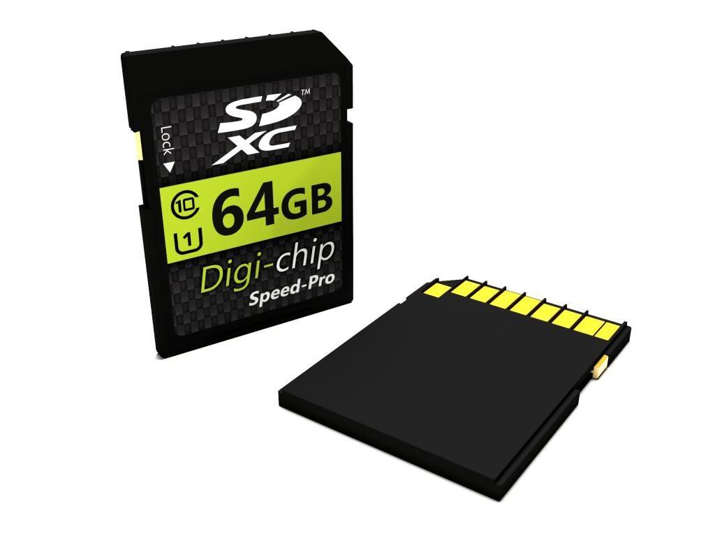 Digi-Chip 64GB CLASS 10 SDXC Memory Card for Fuji Finepix S4200, S4500, SL240, SL300, S8300, S8500, S8200, SL1000, S4800, S8400W, S9400W, S9200, S8600, S1, T400, T550, T500, XP150, XP50, XP60, XP200 and XP70 Digital Camera