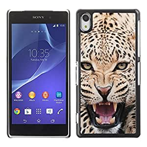 Be Good Phone Accessory // Dura Cáscara cubierta Protectora Caso Carcasa Funda de Protección para Sony Xperia Z2 D6502 D6503 D6543 L50t L50u // Fierce Majestic Leopard Panther