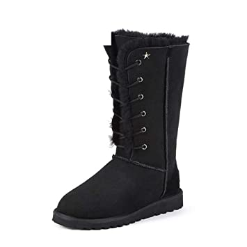 87b765771638 Hy Women s Boots Winter Leather High Boots,Ladies Lace-up Casual Plus  Cashmere Warm