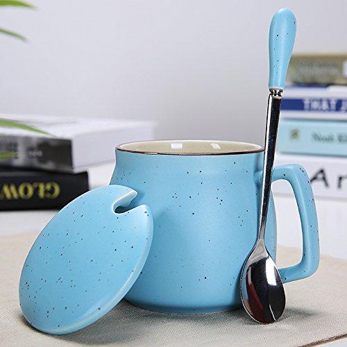マグ蓋&スプーン、個々マグオフィスマグクリエイティブセラミックマグ水、紅茶またはコーヒー ブルー B07CGH5VV4  ブルー