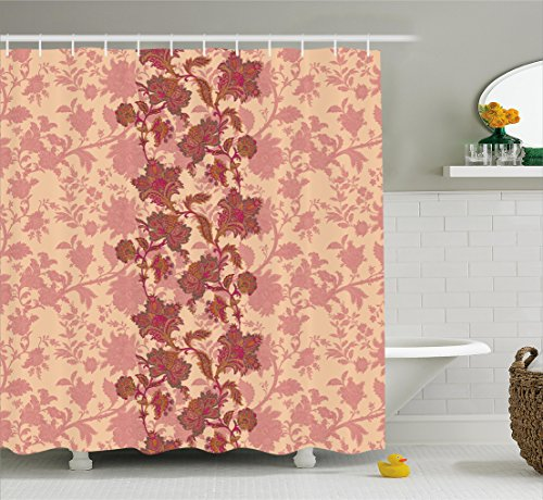 Floral Shower Curtain by Ambesonne, Boho Flowers in Vibrant Colors Moroccan Culture Blossoms Vintage Pattern Print, Fabric Bathroom Decor Set with Hooks, 70 Inches, Peach and (Peach Blossom Shower)