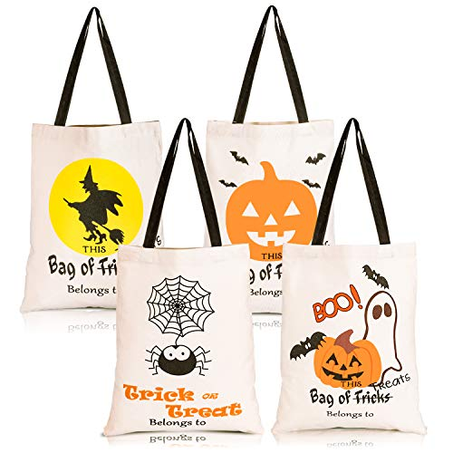Diy Halloween Tote Bags (Whaline 4 Pack Halloween Tote Bags, Reusable Trick or Treat Candy Sack Bags, Large Canvas DIY Craft Bag for Party, Shopping, Market, 14 x 17)