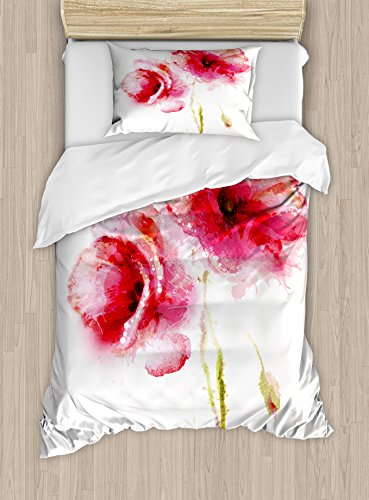 Ambesonne Flower Duvet Cover Set Twin Size, Little Red Spring Summer Time In Garden Florals Field Poppy Artwork Theme, A Decorative 2 Piece Bedding Set with 1 Pillow Sham, Hot Pink Pale Pink and White from Ambesonne