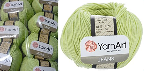 - 55% Cotton 45% Acrylic Yarn YarnArt Jeans Cotton Blend Thread Crochet Hand Knitting Art Lot of 8skn 400 gr 1392 yds color Light Green 11