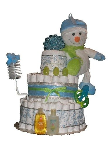 Christmas Holiday - Let it Snow Diaper Cake - Baby Shower Centerpiece or Gift