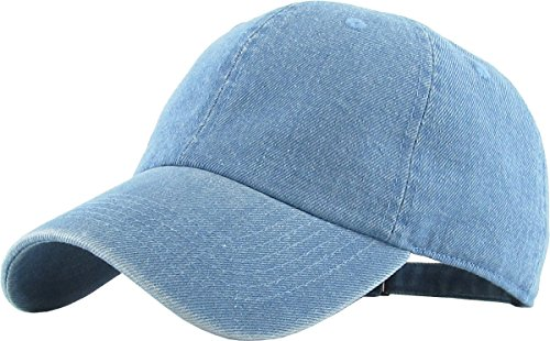 (KB-LOW MDM Classic Cotton Dad Hat Adjustable Plain Cap. Polo Style Low Profile (Unstructured) (Classic) Medium Denim Adjustable )