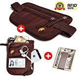BEST Value Pack 3 in 1 - RFID Money Belt for travel & RFID Neck Pouch with BONUS Premium Stainless Steel Money Clip. ULTIMATE Travel Gift for Men & Women