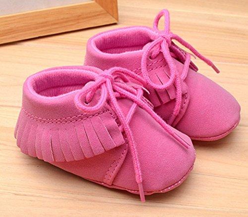 HAPPY CHERRY Suaves Zapatos Calzado de Primeros Pasos Zapatitos sin Cordones Mocasines con Borlas para Bebés Niños Niñas 12 - 18 Meses 13CM Talla EU 21 Color Rojo Brillante Rosa