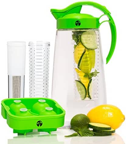 Fruit & Tea Infusion Water Pitcher - Free Ice Ball Maker - Free Infused Water Recipe Booklet - Includes Shatterproof Jug, Fruit Infuser, and Tea Infuser - Great for weight loss - The PERFECT Set