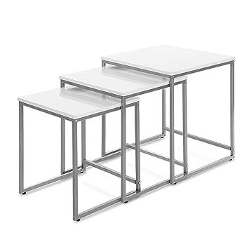 Ikayaa 3er Set Beistelltisch Couchtisch Set Mit Metall Rahmen