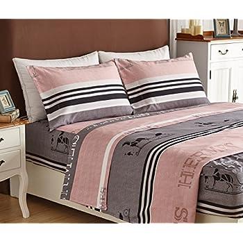 Bed Sheet Set 4 Piece Brushed Microfiber 1500 Bedding Extra Deep Pocket. Amazon com  4 Piece Bed Sheets Set  Queen  Blue  Flat Sheet