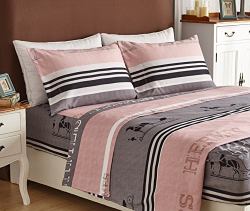 (Bed Sheet Set 4-Piece,Brushed Microfiber 1500 Bedding.Extra Deep Pocket(18In), Fitted Sheet, Flat Sheet & 2 Pillowcase ( Gray stripes/ Twin))